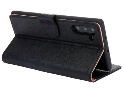 Premium Leather Wallet Case with Stand for Samsung Galaxy Note10 5G - Black