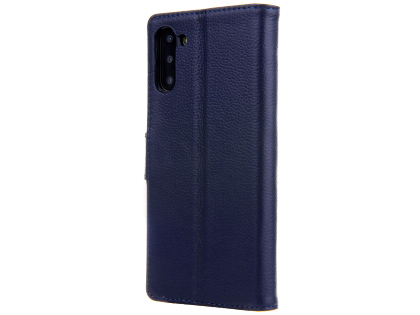 Premium Leather Wallet Case with Stand for Samsung Galaxy Note10 5G - Midnight Blue Leather Wallet Case