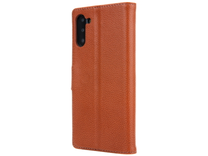 Premium Leather Wallet Case with Stand for Samsung Galaxy Note10 5G - Brown Leather Wallet Case
