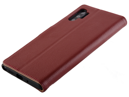Premium Leather Wallet Case with Stand for Samsung Galaxy Note10+ 5G - Burgundy Leather Wallet Case