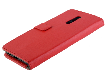 Synthetic Leather Wallet Case with Stand for Nokia 3.2 - Red Leather Wallet Case