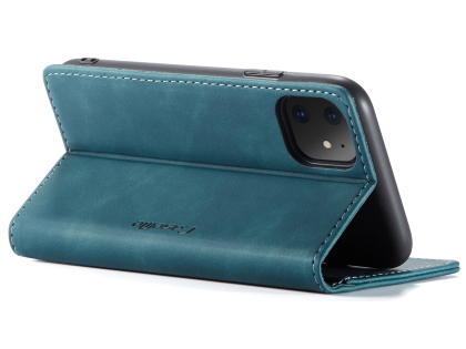 CaseMe Slim Synthetic Leather Wallet Case with Stand for iPhone 11 - Teal