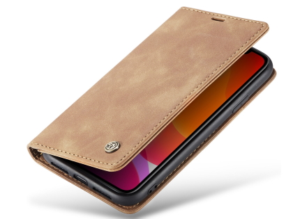 CaseMe Slim Synthetic Leather Wallet Case with Stand for iPhone 11 - Beige Leather Wallet Case