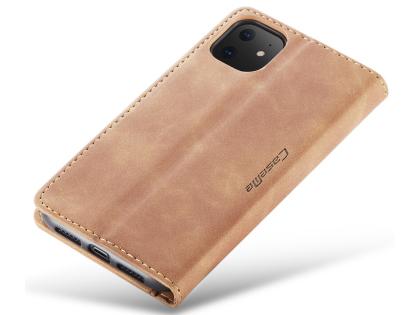 CaseMe Slim Synthetic Leather Wallet Case with Stand for iPhone 11 - Tan