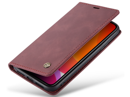 CaseMe Slim Synthetic Leather Wallet Case with Stand for iPhone 11 - Burgundy Leather Wallet Case