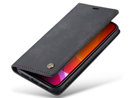 CaseMe Slim Synthetic Leather Wallet Case with Stand for iPhone 11 - Charcoal Leather Wallet Case