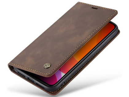 CaseMe Slim Synthetic Leather Wallet Case with Stand for iPhone 11 - Chocolate Leather Wallet Case