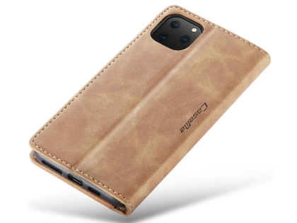 CaseMe Slim Synthetic Leather Wallet Case with Stand for iPhone 11 Pro - Tan
