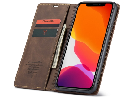 CaseMe Slim Synthetic Leather Wallet Case with Stand for iPhone 11 Pro - Chocolate