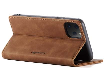CaseMe Slim Synthetic Leather Wallet Case with Stand for iPhone 11 Pro Max - Tan
