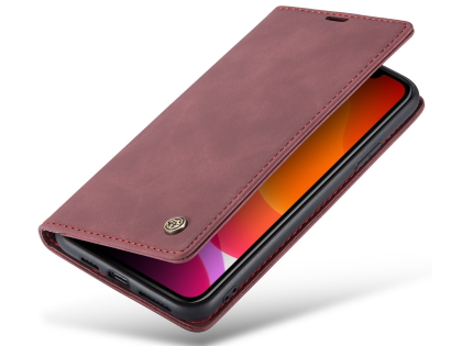CaseMe Slim Synthetic Leather Wallet Case with Stand for iPhone 11 Pro Max - Burgundy Leather Wallet Case