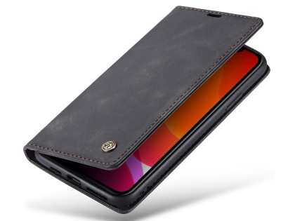 CaseMe Slim Synthetic Leather Wallet Case with Stand for iPhone 11 Pro Max - Charcoal Leather Wallet Case