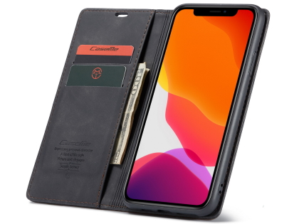 CaseMe Slim Synthetic Leather Wallet Case with Stand for iPhone 11 Pro Max - Charcoal
