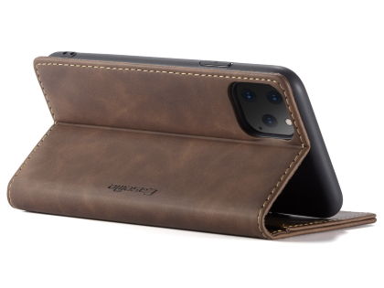 CaseMe Slim Synthetic Leather Wallet Case with Stand for iPhone 11 Pro Max - Chocolate