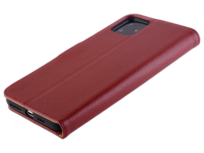Premium Leather Wallet Case for Apple iPhone 11 - Burgundy Leather Wallet Case