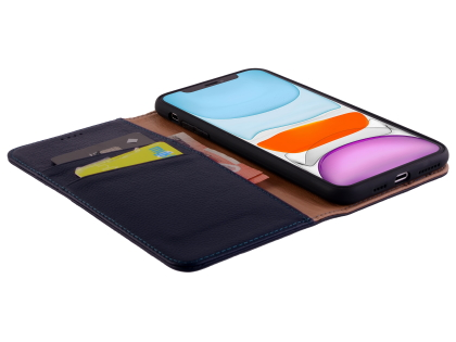 Premium Leather Wallet Case for Apple iPhone 11 - Midnight Blue