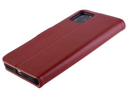 Premium Leather Wallet Case for Apple iPhone 11 Pro Max - Burgundy Leather Wallet Case