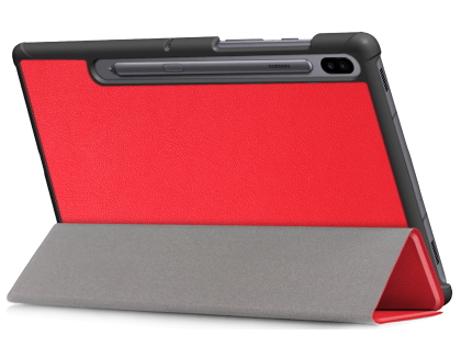 Slim Synthetic Leather Flip Case with Stand for Samsung Galaxy Tab S6 - Red Leather Flip Case