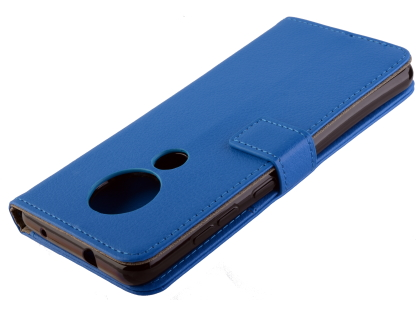 Synthetic Leather Wallet Case with Stand for Nokia 7.2 - Blue Leather Wallet Case