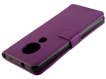 Synthetic Leather Wallet Case with Stand for Nokia 7.2 - Purple Leather Wallet Case