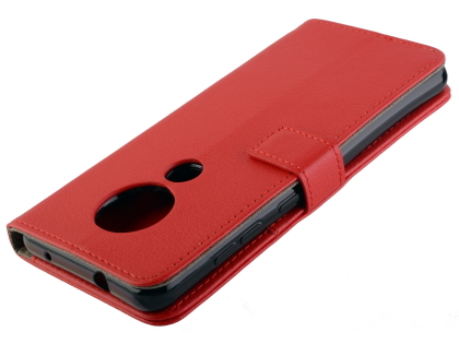 Synthetic Leather Wallet Case with Stand for Nokia 7.2 - Red Leather Wallet Case