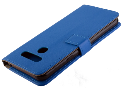 Synthetic Leather Wallet Case with Stand for LG Q60 - Blue Leather Wallet Case