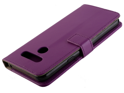Synthetic Leather Wallet Case with Stand for LG Q60 - Purple Leather Wallet Case