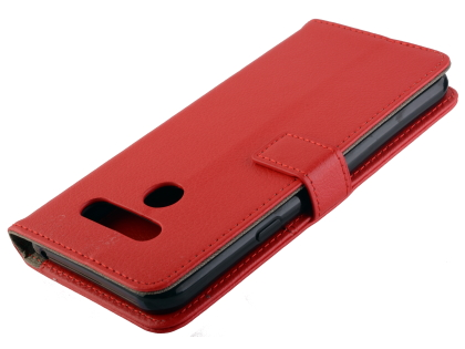 Synthetic Leather Wallet Case with Stand for LG Q60 - Red Leather Wallet Case