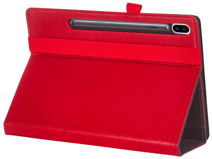 Synthetic Leather Flip Case with Stand for Samsung Galaxy Tab S6 - Red Leather Flip Case