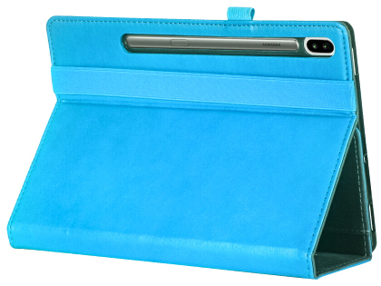 Synthetic Leather Flip Case with Stand for Samsung Galaxy Tab S6 - Sky Blue Leather Flip Case