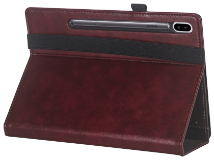 Synthetic Leather Flip Case with Stand for Samsung Galaxy Tab S6 - Rosewood Leather Flip Case