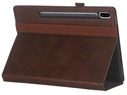 Synthetic Leather Flip Case with Stand for Samsung Galaxy Tab S6 - Brown Leather Flip Case