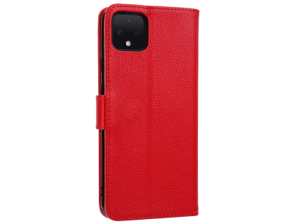 Premium Leather Wallet Case for Google Pixel 4 - Red Leather Wallet Case