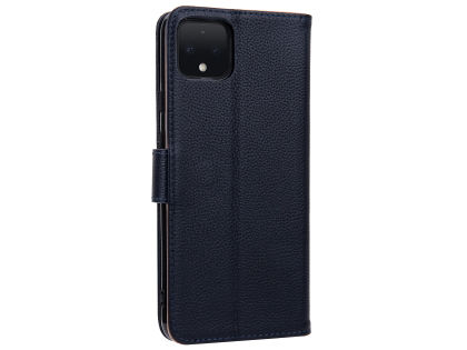 Premium Leather Wallet Case for Google Pixel 4 - Midnight Blue Leather Wallet Case