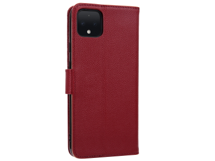 Premium Leather Wallet Case for Google Pixel 4 - Burgundy Leather Wallet Case