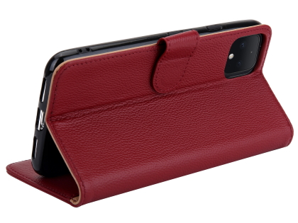 Premium Leather Wallet Case for Google Pixel 4 - Burgundy
