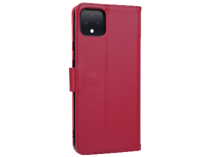 Premium Leather Wallet Case for Google Pixel 4 - Pink Leather Wallet Case