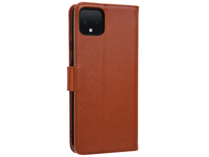 Premium Leather Wallet Case for Google Pixel 4 - Caramel Leather Wallet Case