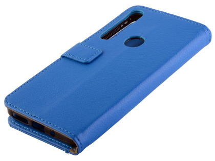 Synthetic Leather Wallet Case with Stand for Motorola One Macro - Blue Leather Wallet Case