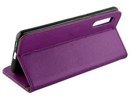 Synthetic Leather Wallet Case with Stand for Samsung Galaxy A90 5G - Purple