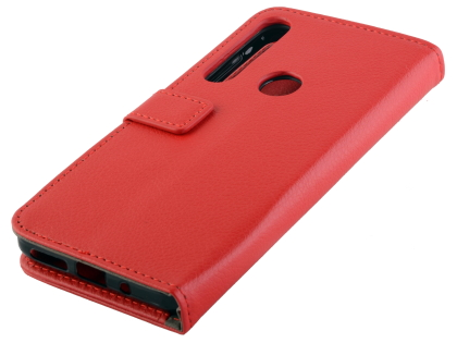 Synthetic Leather Wallet Case with Stand for Motorola One Macro - Red Leather Wallet Case