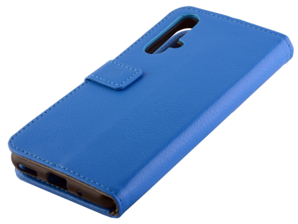 Synthetic Leather Wallet Case with Stand for Huawei Nova 5T - Blue Leather Wallet Case