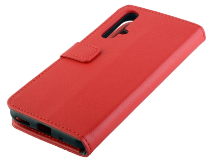 Synthetic Leather Wallet Case with Stand for Huawei Nova 5T - Red Leather Wallet Case