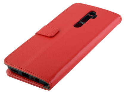 Synthetic Leather Wallet Case with Stand for OPPO A5 2020 - Red Leather Wallet Case