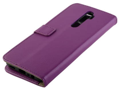Synthetic Leather Wallet Case with Stand for OPPO A5 2020 - Purple Leather Wallet Case