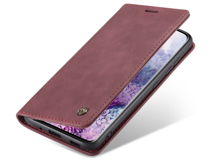 CaseMe Slim Synthetic Leather Wallet Case with Stand for Samsung Galaxy S20 - Burgundy