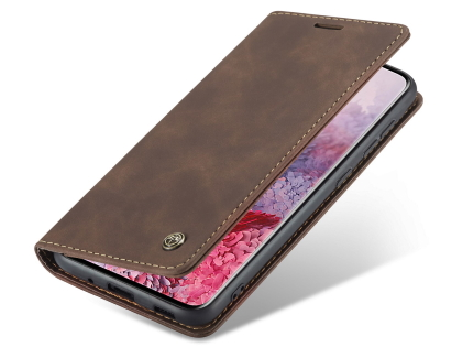 CaseMe Slim Synthetic Leather Wallet Case with Stand for Samsung Galaxy S20 Ultra - Chocolate