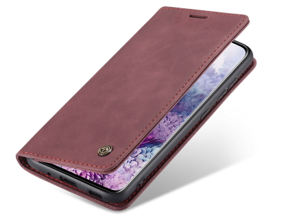 CaseMe Slim Synthetic Leather Wallet Case with Stand for Samsung Galaxy S20 Ultra - Burgundy