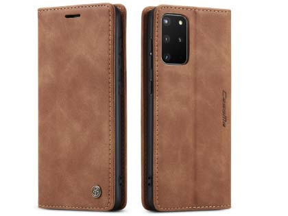 CaseMe Slim Synthetic Leather Wallet Case with Stand for Samsung Galaxy S20+ - Beige