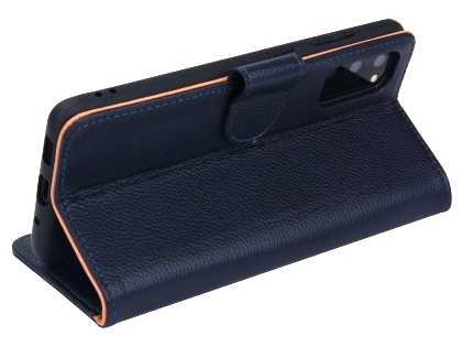 Premium Leather Wallet Case for Samsung Galaxy S20 - Midnight Blue